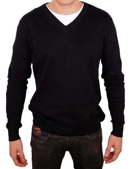 Suéter Masculino Com Preto Decote V Liso - Balboa