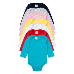 Body Infantil Bebê 100% Algodão - Manga Longa - Kit C/15 Pçs