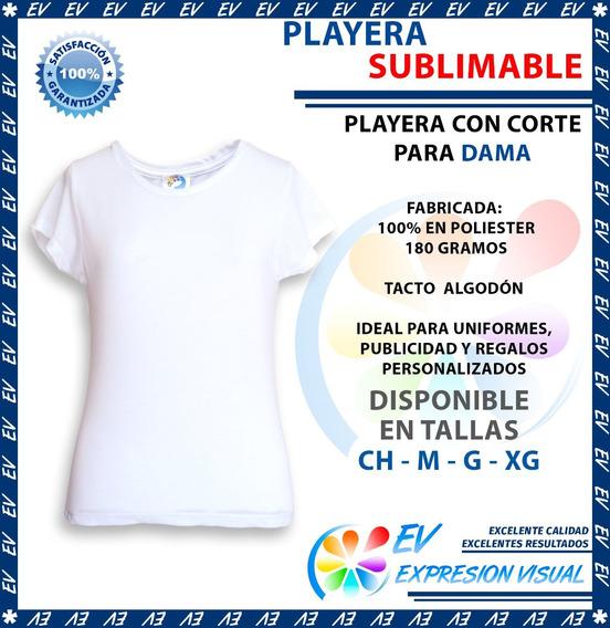 Playera Sublimacion Tacto Algodón Colormake Dama 12 Pzs