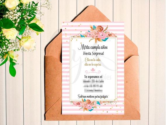 Mini Kit Imprimible Flores Con Dorado 40 50 60+ Inv Digital