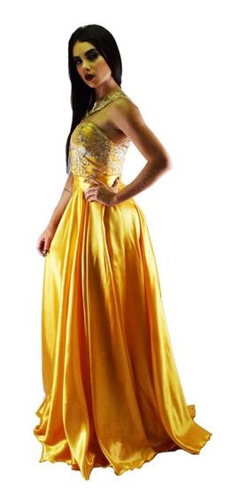 Vestido De Madrinha Bodas Ouro Formatura Mãe Noiva Dourado