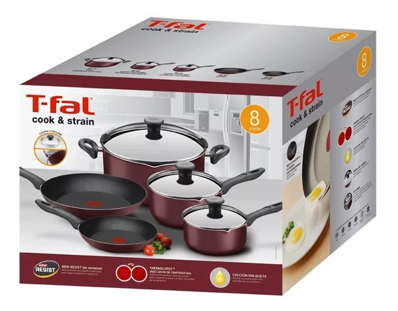 Batería De Cocina Tefal Cook & Strain Antiadherente 8pz Tfal