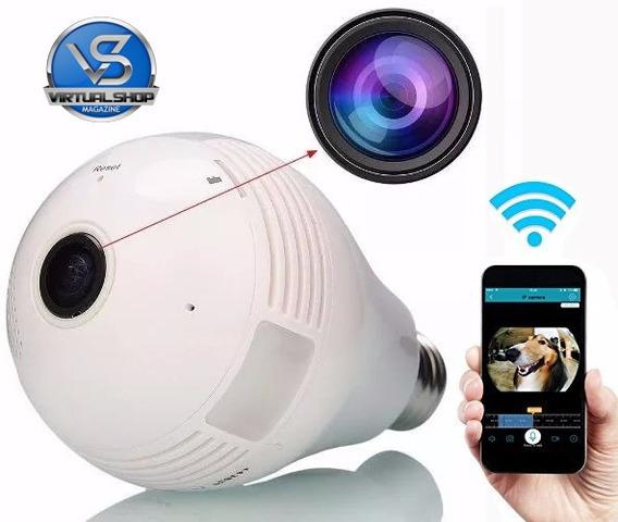 Camera Ip Segurança Lampada Vr360 Panoramica Wifi Espia V380