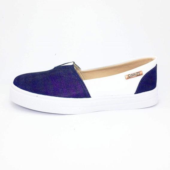 Tênis Slip On Quality Shoes Feminino 002 Multicolor Azul/cou