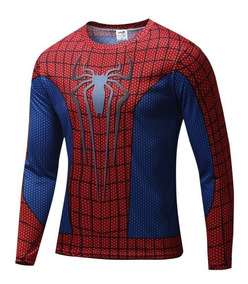 Camisa Super Heróis Homem Aranha Manga Longa Azul/vermel
