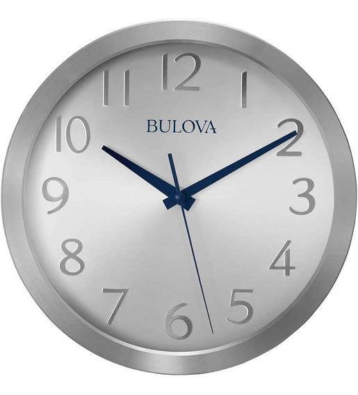 Reloj De Pared Bulova Color Plateado De Lujo Original