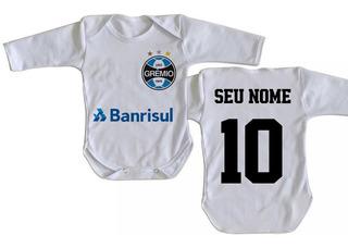 Body Criança Nenê Personalizado Com Nome Time Grêmio Tricolo
