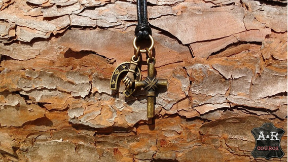 Colar Amuleto Da Sorte E Proteção Com Cruz, Figa E Ferradura