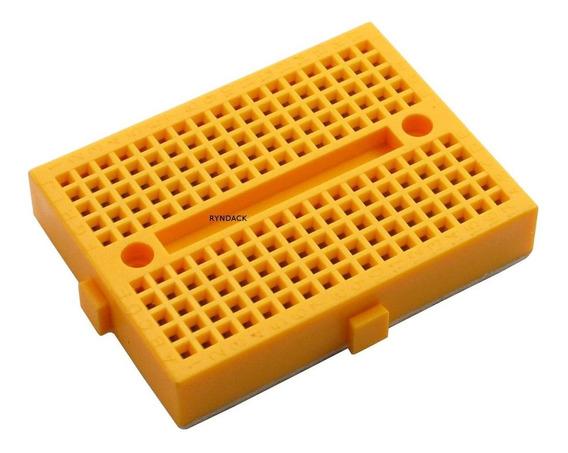 Mini Protoboard 170 Furos Amarelo Com Adesivo Para Arduino