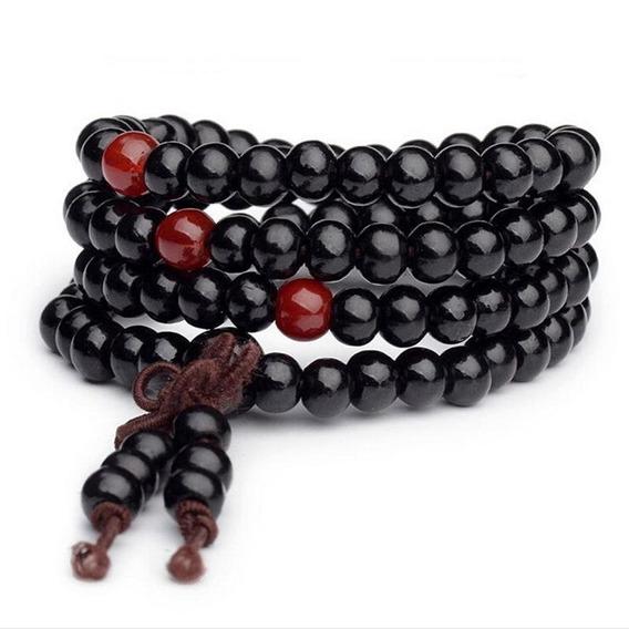 Collar Pulsera Budista Rosario Negro Variante 1