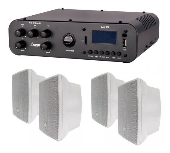 Som Ambiente Amplificador Ll Nca Sa10 + 4 Caixa Jbl C521b Br
