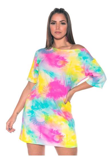 Vestido Tie Dye Camisetão Feminino Moda Tendência Promoção!!