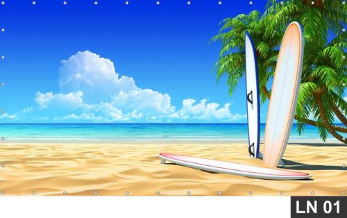 Imagem 1 de 6 de Hawai Havai Havaii Praia Painel 7,00x2,50m Lona Decoração