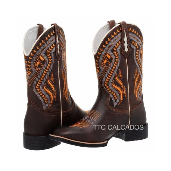 Bota Texana Country Bordada Modelo Novo Ttc101 Lançamento