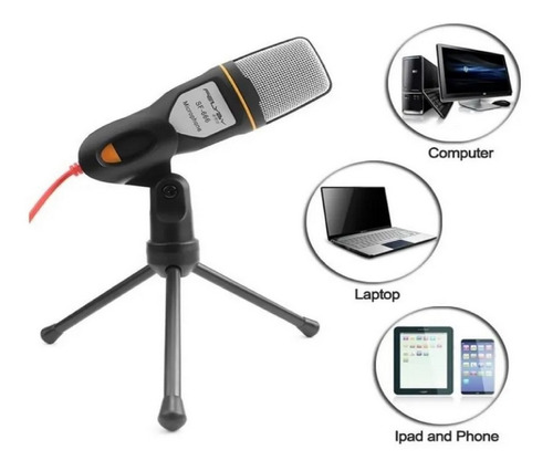 Microfono De Condensador Sf-666 + Soporte Pc Laptop Estudio