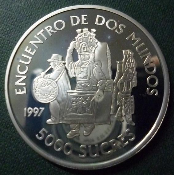 Ecuador Moneda Plata 5000 Sucres 1997 Danzas Tipicas (ibero)