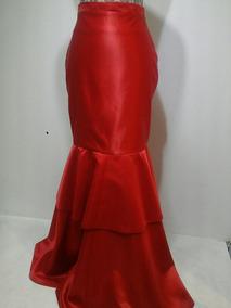 1d1150e6f Falda Larga Roja Corte Sirena Fiesta