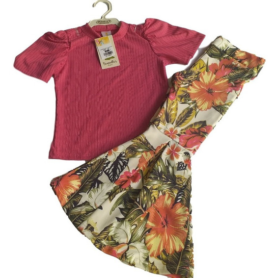 Kit De Roupas02 Conjunto Infantil Calça Flare /blusa E Short