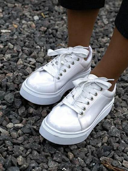 Zapatillas Blancas Charol Con Plataforma Y Cordones Glitter