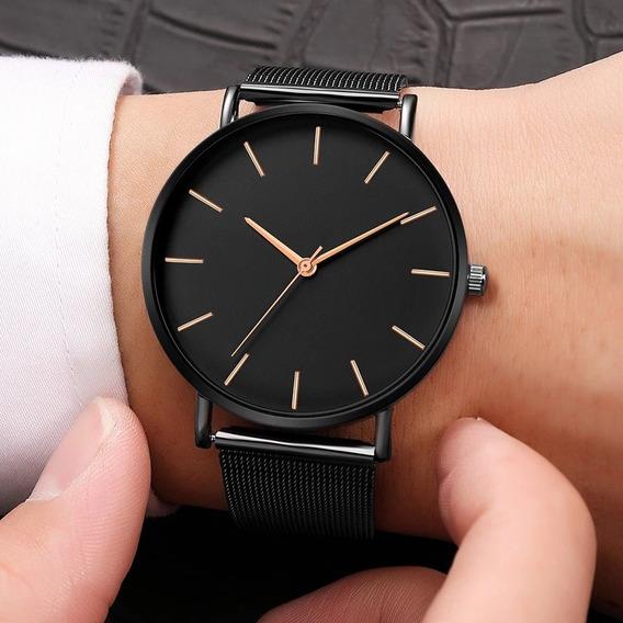 2 Relógios Unissex De Quartzo Fundo Preto Ponteiros Dourados