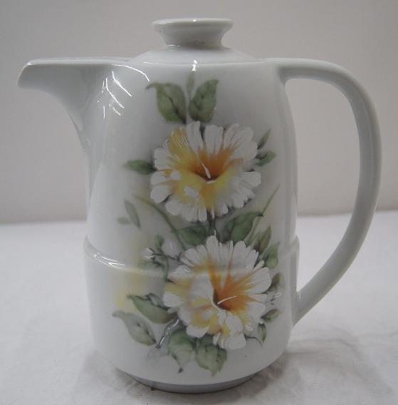 Antigo Bule Para Chá De Porcelana Pozzani Flores