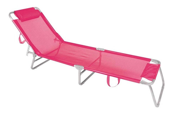 Cadeira Espreguiçadeira De Alumínio Mor Rosa Praia Piscina