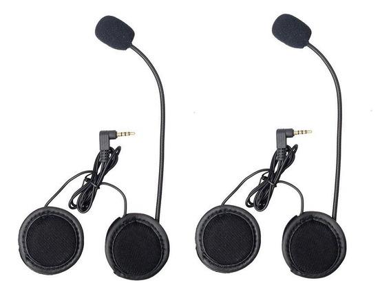 02 Kit Fones Microfone Intercom V6 Comunicador Capacete