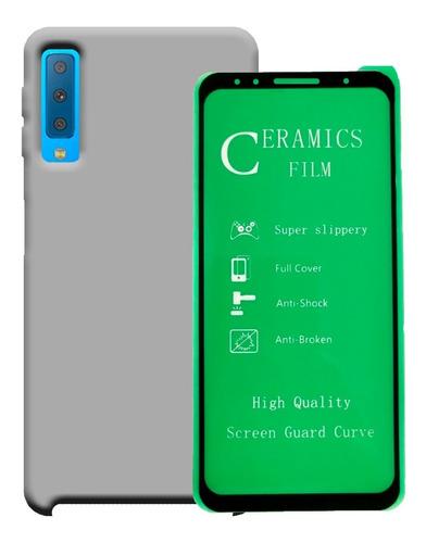 Funda Estuche Silicone Case + Vidrio 5d Samsung A7 2018
