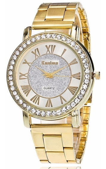 Relógio De Pulso Feminino Dourado Com Strass Pulseira Luxo