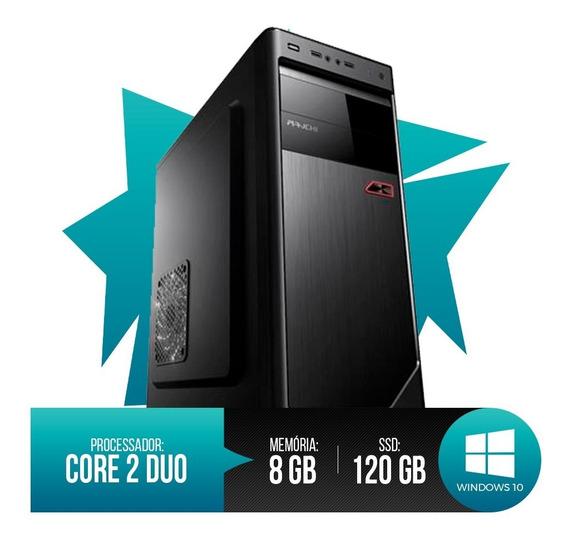 Desktop Pc Intel Core 2 Duo, 8gb Ram, Hd Ssd 120gb Novo!