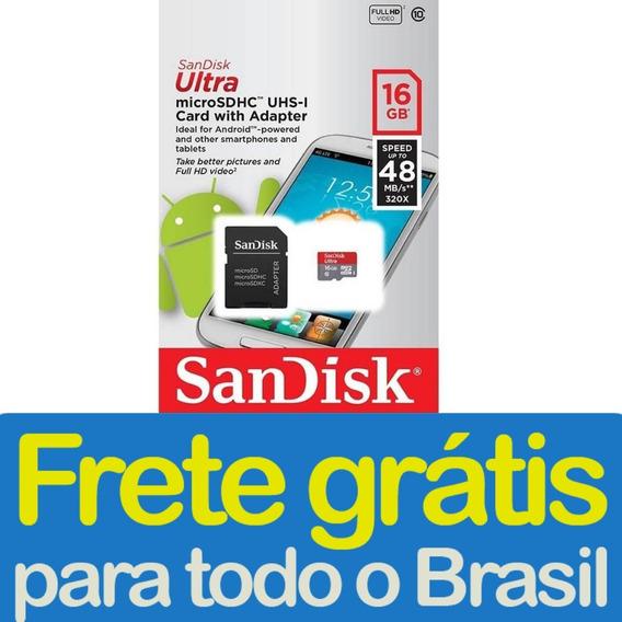 Cartão De Memória Sandisk Micro Sd 16gb Classe 10 Nfe Frete