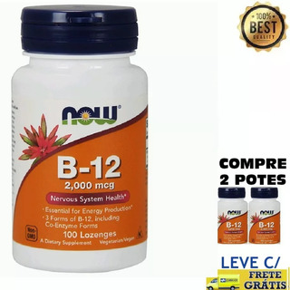 B-12 Now Foods 2000mcg 100 Pastilhas   2x Mais Forte