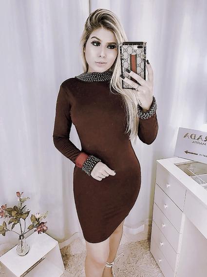 Vestido Luxo Tubinho Manga Longa Gola Alta Com Bordado
