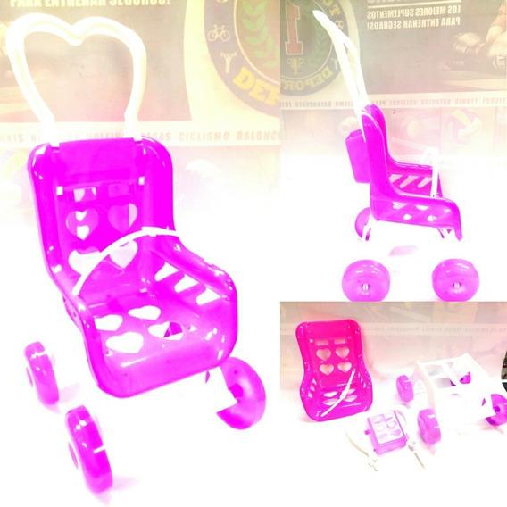 Coche Plastico Para Muñecas Juguete Niñas Rosado Trapo Bebe