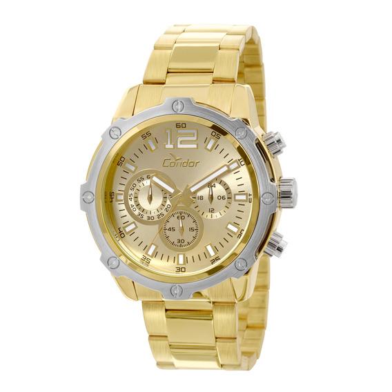 Relógio Masculino Dourado Condor Linha Luxo Covd54ae/4x