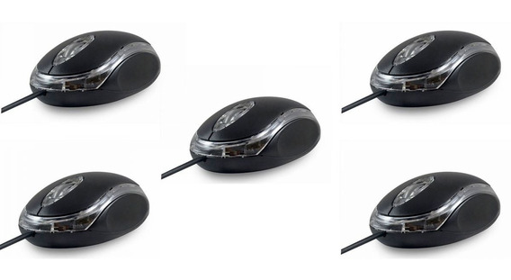 Kit 5 Mini Mouse Basico Otico Preto Usb Mauser Para Revenda
