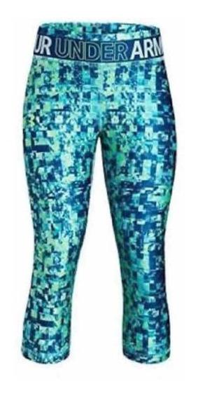 Mallas Leggins Under Armour 3/4 Camuflaje Azul Talla G Niña