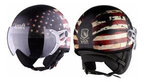 Capacete Kraft Plus Usa Custom Harley + Brinde
