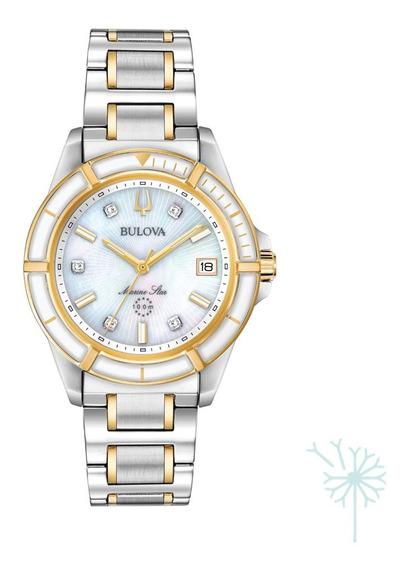 98p186 Reloj Bulova Marine Star Diamante Dama Plat/dorado