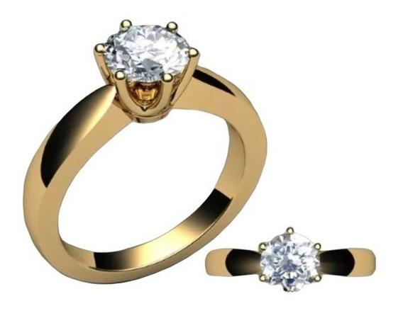 Anel Solitário De Ouro 18k Diamante De 0,35 Quilate