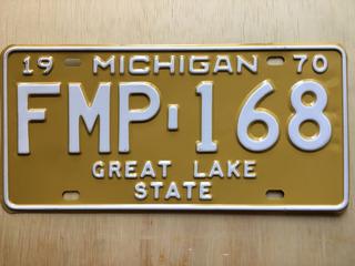 Placa De Carro Americano - Michigan - Usa - Original 1970
