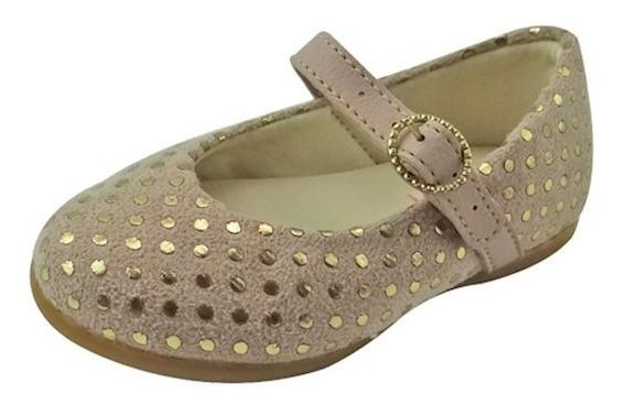 Sapato Boneca Infantil Em Camurça - Nude Com Ouro