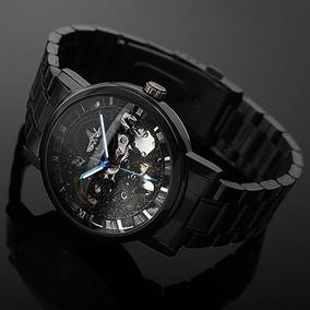 Relógio Automático Esqueleto Luxo (vidro Do Fundo Quebrado)