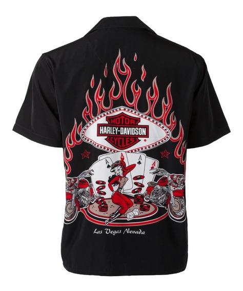 Camisa Harley Davidson Original Garage Poker Babe Las Vegas