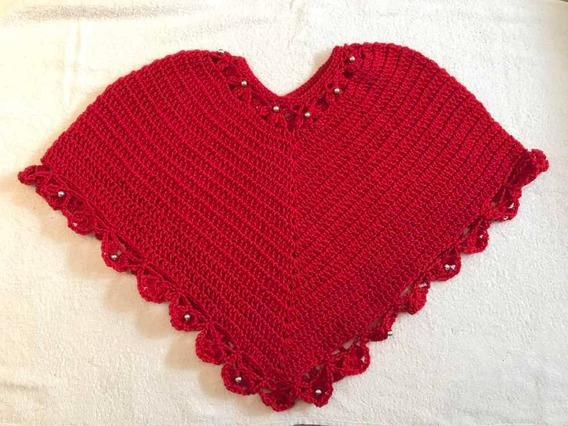Poncho Crochet Tejido A Mano Rojo (8 A 12 Años) Niñas