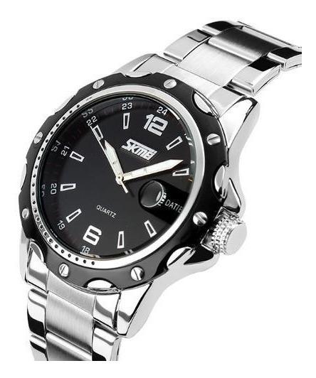 Relógio Masculino Skmei Analógico Prata E Preto 0992