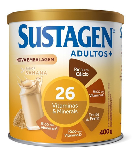 Complemento Alimentar Sustagen Adultos+ Banana Lata 400g