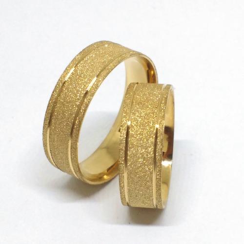 Par Aliança Ouro 18k Reta Fosco Diamantado 8 Gramas 6mm