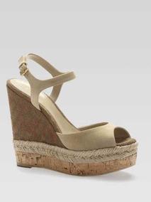 Zapato Gucci Tacón Corrido Beige Nude Camel Piel Gamuza