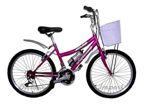 Bicicleta Dama Aro 24 18v Campera Canasta Componentes Taiwan
